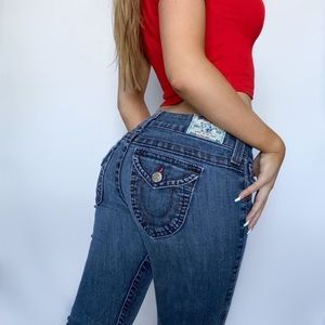 True Religion Y2K Red-Stitch Flap-Pocket Jeans